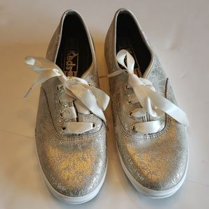 Keds marbled metallic gold sneakers size 6